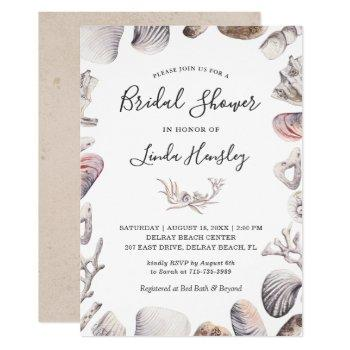 watercolor white sea shell beach bridal shower invitation