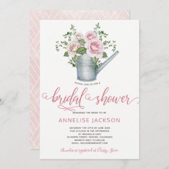 watering can sage blush pink roses bridal shower invitation