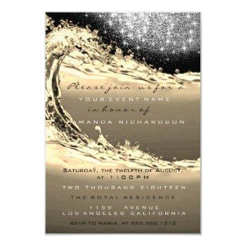 waves sepia bridal abstract surprise birthday invitation