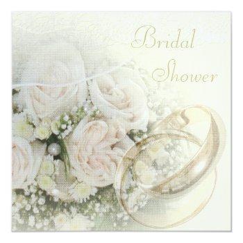 wedding bands, roses, doves & lace bridal shower invitation