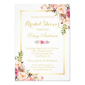 wedding bridal shower chic floral golden frame invitation