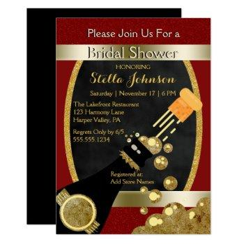 wedding bridal shower | chic gold red champagne invitation