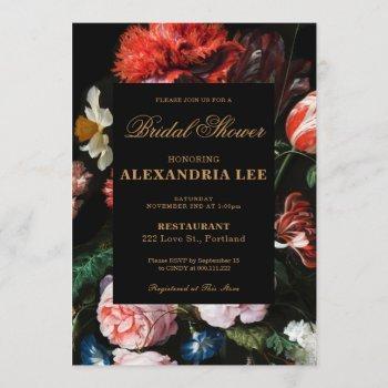 wedding bridal shower invitation black floral