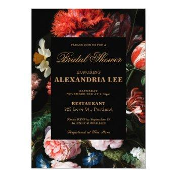 wedding bridal shower invitation black floral
