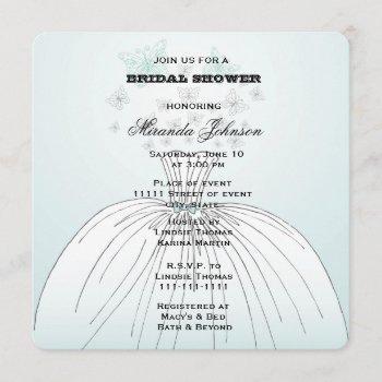 wedding dress butterflies invitation