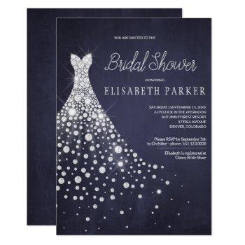 wedding dress navy blue chalkboard bridal shower invitation