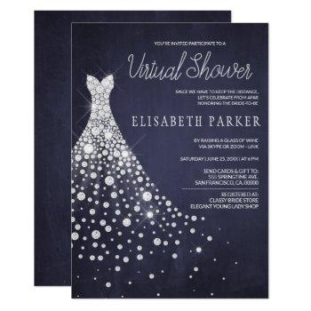 wedding dress navy blue chalkboard virtual shower invitation
