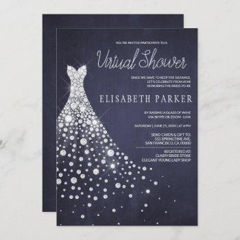 wedding dress navy blue chalkboard virtual shower invitation