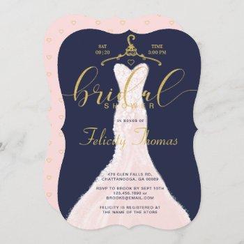 wedding dress navy gold bridal shower invitation