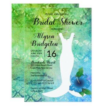 wedding gown beach themed bridal shower invitation