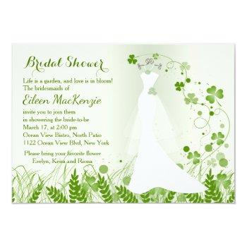 wedding gown, shamrock in a meadow, bridal shower invitation