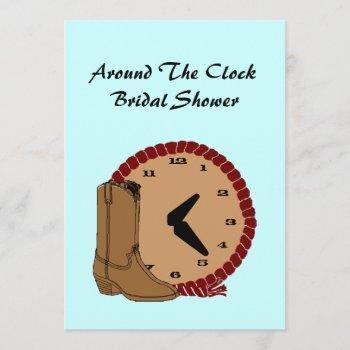 western around the clock bridal shower invitations
