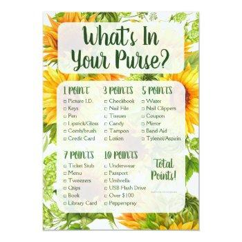 what's in your purse shower game sunflowers yellow invitation