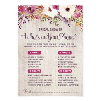 what's on your phone rustic bridal shower game invitation