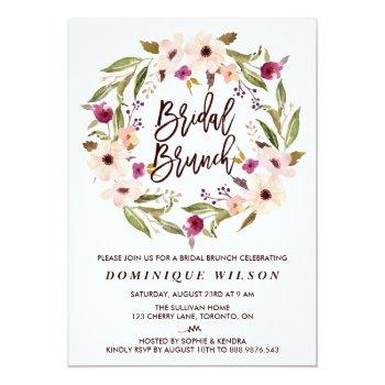 whimsical bohemian floral wreath bridal brunch invitation