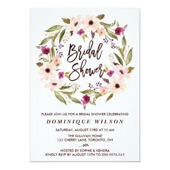 whimsical bohemian floral wreath bridal shower invitation