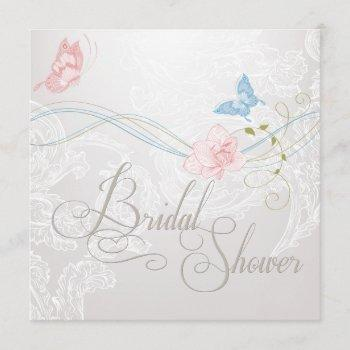 whimsical butterflies and lace bridal shower invitation