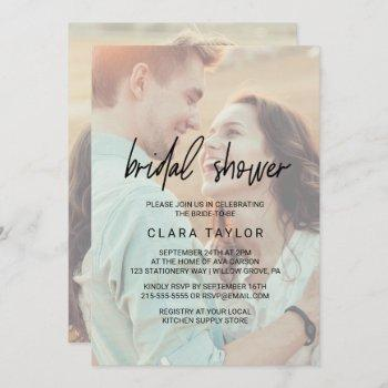 whimsical calligraphy   faded photo bridal shower invitation