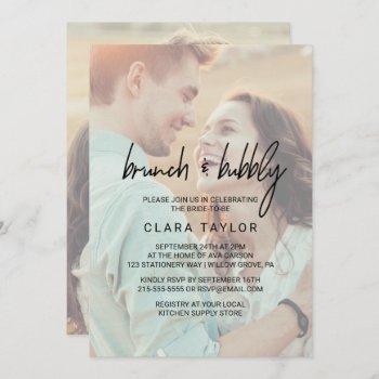 whimsical calligraphy faded photo brunch & bubbly invitation