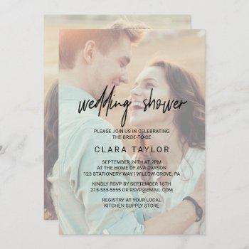 whimsical calligraphy   faded photo wedding shower invitation