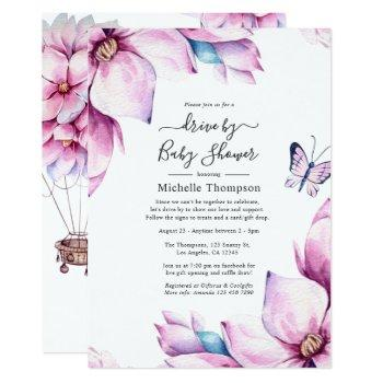 whimsical pink magnolias drive by shower invitation