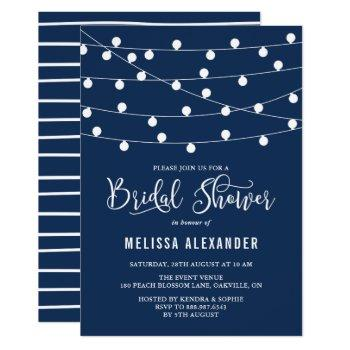 whimsical string lights navy blue bridal shower invitation