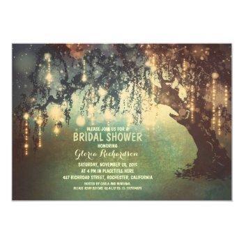 whimsical string lights tree bridal shower invitation