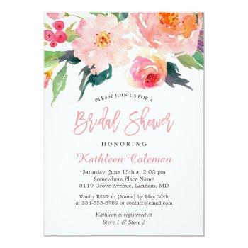 Whimsical Watercolor Floral Modern Bridal Shower Invitation Front View
