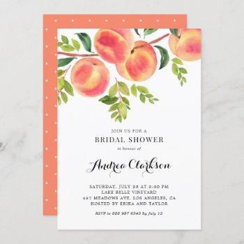 whimsical watercolor peaches summer bridal shower invitation