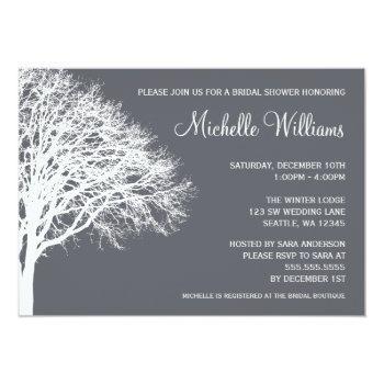 white and gray winter oak bridal shower invitation