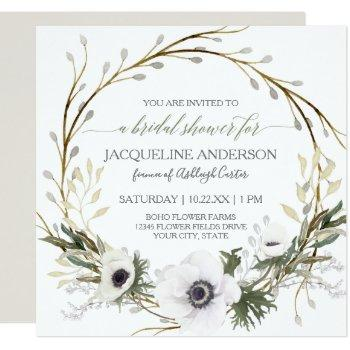 white anemone twig fern eucalyptus bridal shower invitation