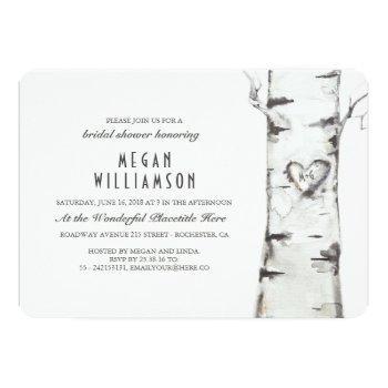 white birch tree rustic bridal shower invitation