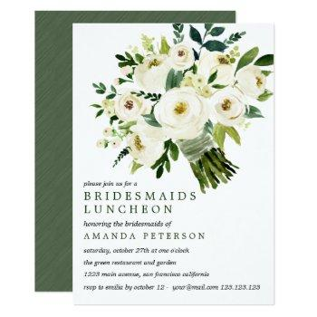 white bloom | bouquet bridesmaids luncheon wedding invitation