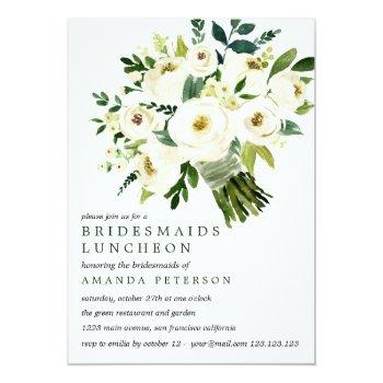 White Bloom | Bouquet Bridesmaids Luncheon Wedding Invitation Front View