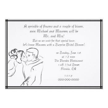 white bridal shower invitation