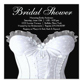 white corset black and white bridal shower invitation