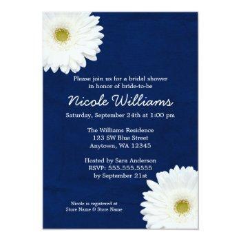 white daisy navy blue bridal shower invitation