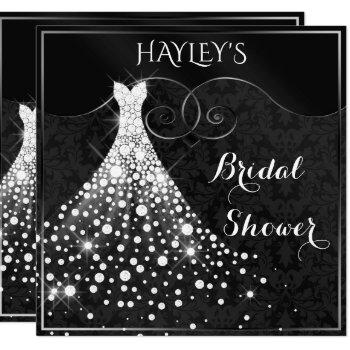 white diamonds gown black silver bridal shower invitation
