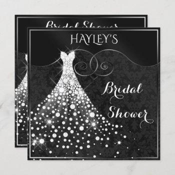 white diamonds gown black silver bridal shower invitation