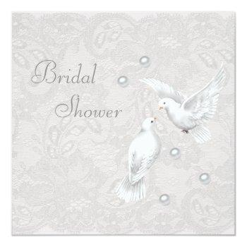 white doves & pearls paisley lace bridal shower invitation