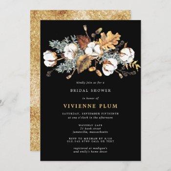 white floral autumn leaves gold bridal shower invitation