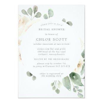 White Floral Botanical Square Bridal Shower Invitation Front View