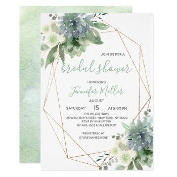 white floral succulent geometric bridal shower invitation