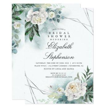 white flowers and greenery elegant bridal shower invitation