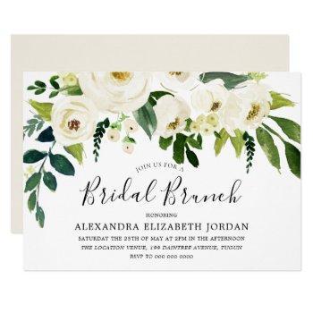 white flowers & cream elegant bridal shower brunch invitation