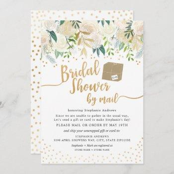 white gold floral bridal shower by mail invitation