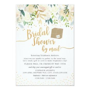 Small White Gold Floral Bridal Shower By Mail Invitation Front View