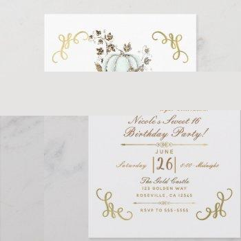 white & gold glitter pumpkin sweet 16 party invitation