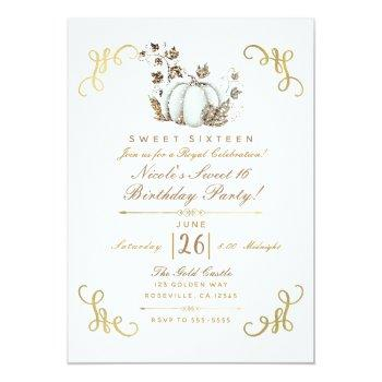 white & gold glitter pumpkin sweet 16 party invitation