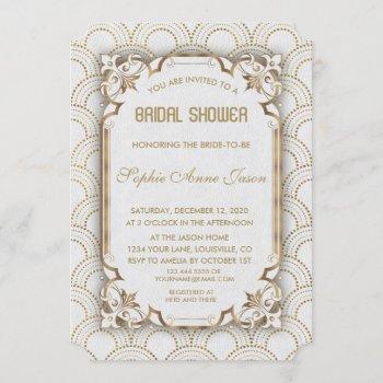 white gold great gatsby art deco bridal shower invitation